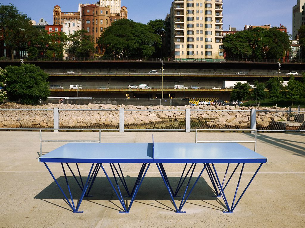POPP ICON outdoor ping pong table installation at Pier 2 Brooklyn Bridge Park New York