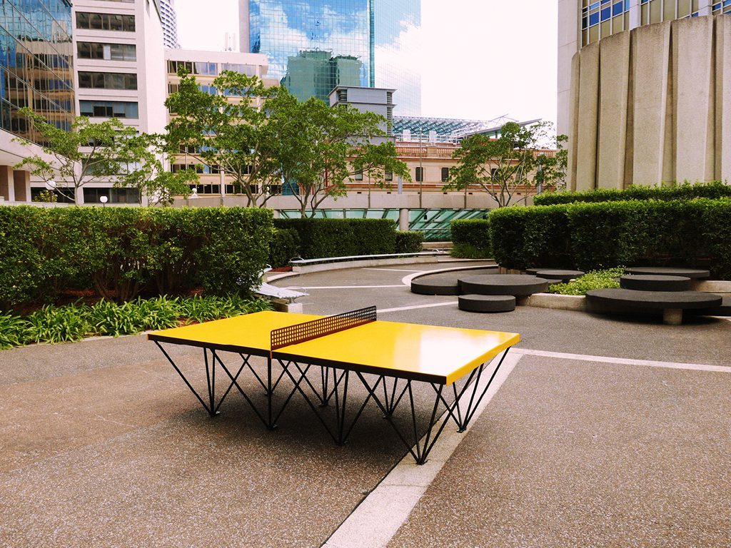 POPP ICON outdoor ping pong table installation at the Harry Seidler MLC Center in Sydney