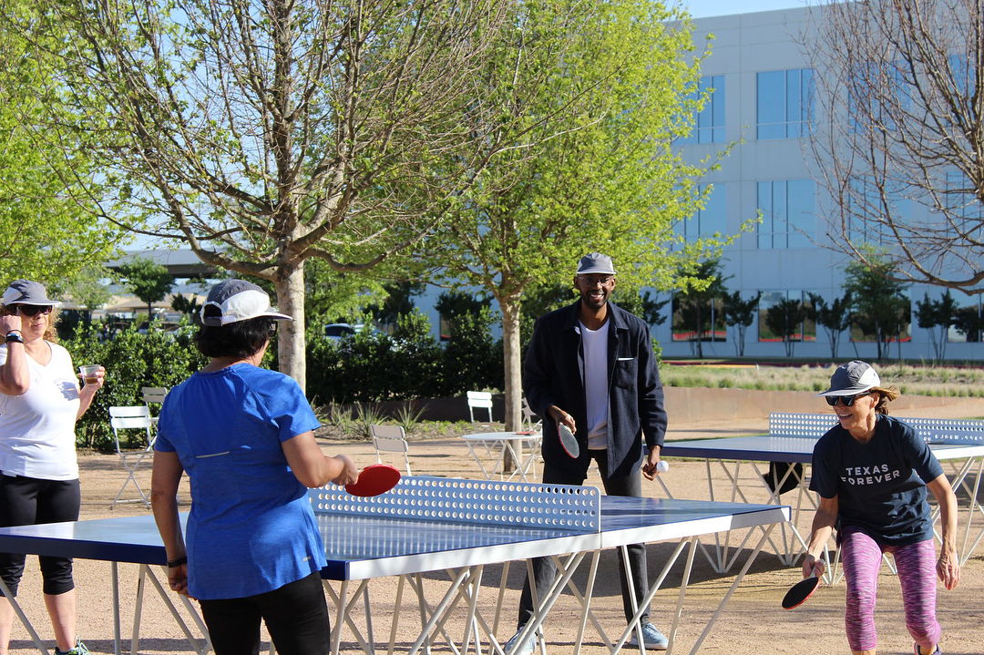 Double game on the ICON outdoor ping pong table at Cypress waters in Irving, Texas.